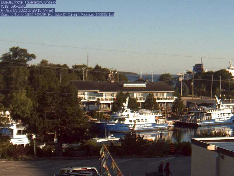 Tobermory webcam - Blue Bay Motel webcam, Ontario, Bruce County